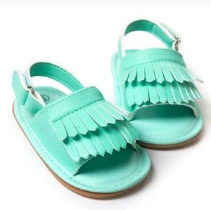 Other - NWT Teal Baby Moccasin Sandals